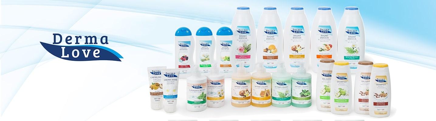 Gamma prodotti Dermalove. Prodotti cosmetici biologici per la cura della propria pelle, interamente certificati Natrue
