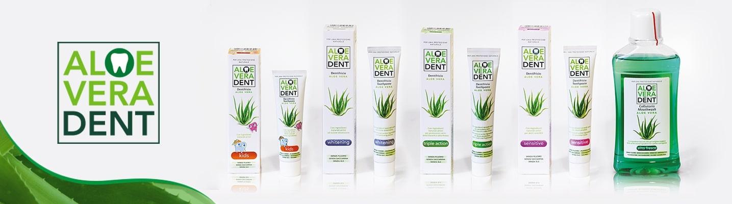 Gamma prodotti AloeVeradent. Prodotti a base di Aloe Vera per adulti e per bambini, interamente certificati Natrue