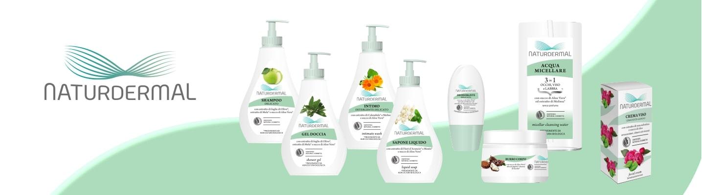 Gamma prodotti NaturDermal. Interamente certificata Natrue e realizzata con prodotti provenienti da Agricoltura Biologica